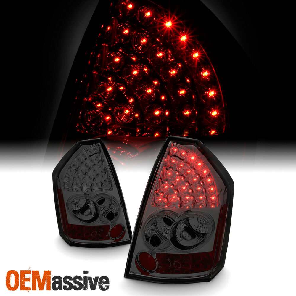 Chrysler 300 2006 Black Led Tail Lights: Fits 05-07 Chrysler 300 Smoked Smoke Rear LED Tail Lights