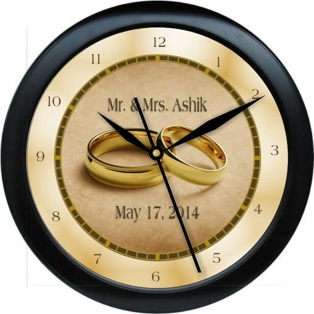 Personalized Gold Wedding Ring Wall Clock Bride Groom Marriage Gift ...