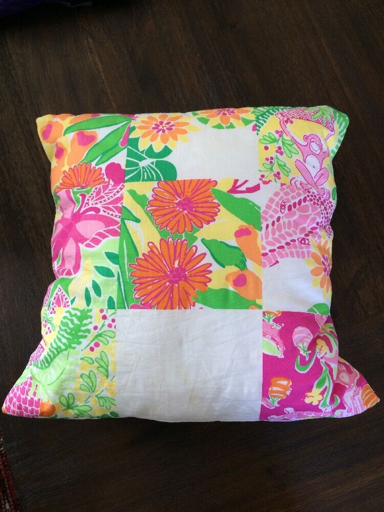 Decorative Lilly Pulitzer Fabric Throw Pillow Pink Green