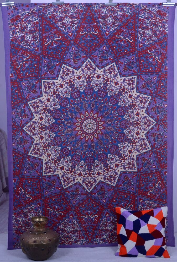 Indian maroon star hippie mandala psychedelic wall hanging for Bedroom ideas maroon walls