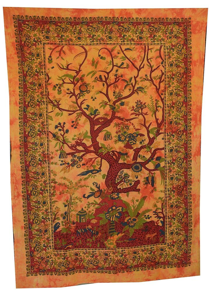 Tree Of Life Indian Wall Hanging Tapestry Bedspread Throw