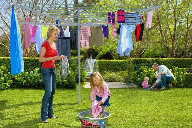New Clothes Airer 4 Arm Rotary Garden Washing Line Dryer