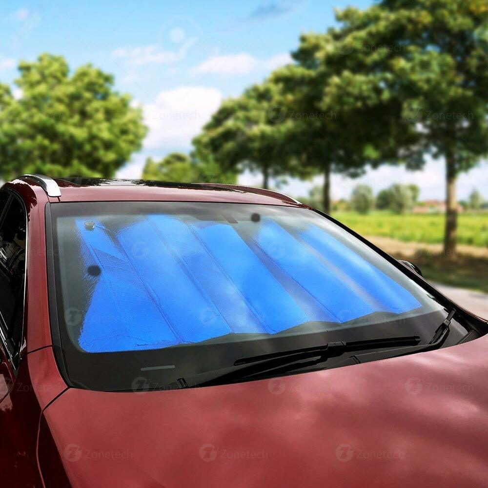 zone tech blue silver reversible car windshield sun protection sunshade 28 x54 ebay. Black Bedroom Furniture Sets. Home Design Ideas