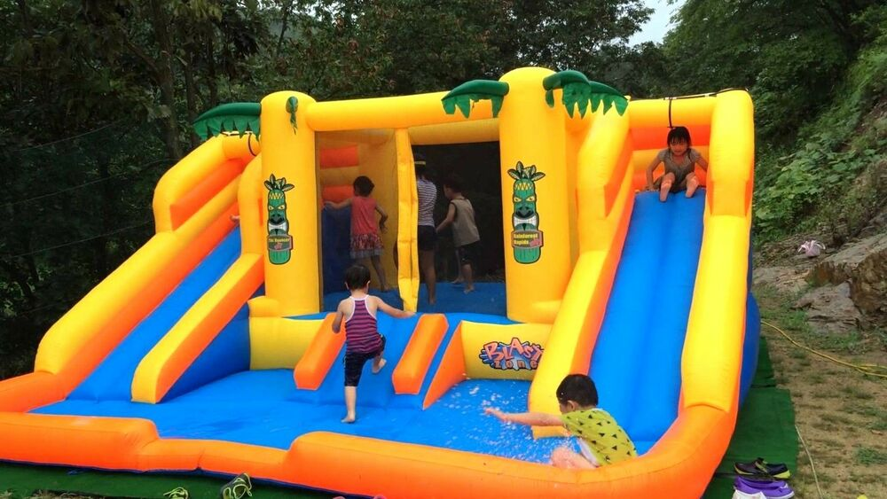 Commercial double water slide inflatable bouncer outdoor - Commercial swimming pool water slides ...