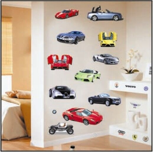 Various sports car wall sticker decal home decor vinyl for Cars wall mural sticker