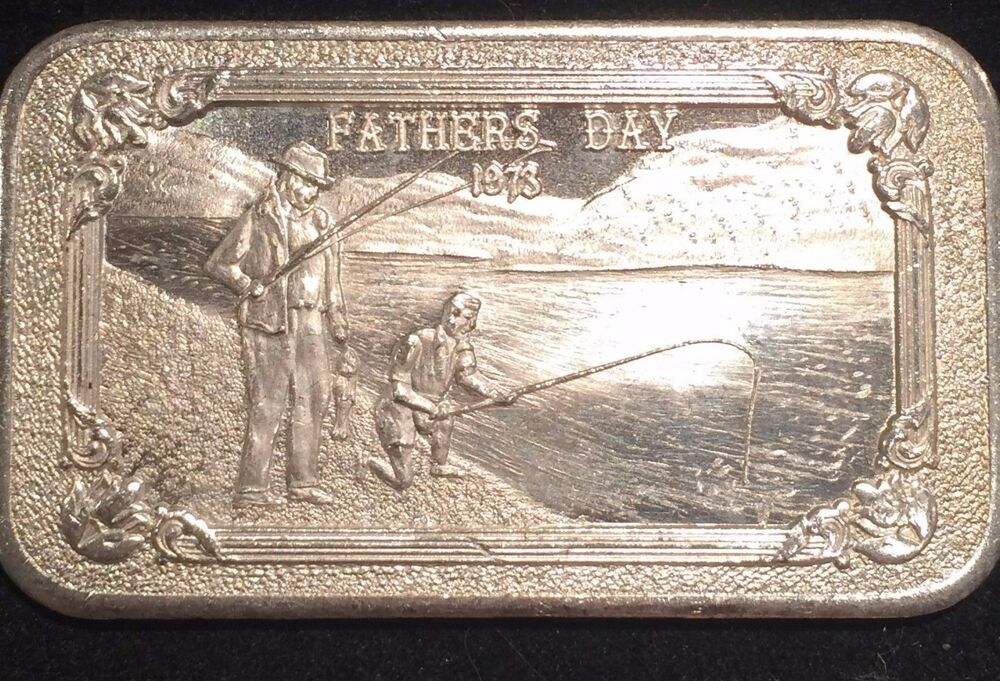 Fathers Day 1973 Fishing Son Mother Load Mint 1 Oz Silver