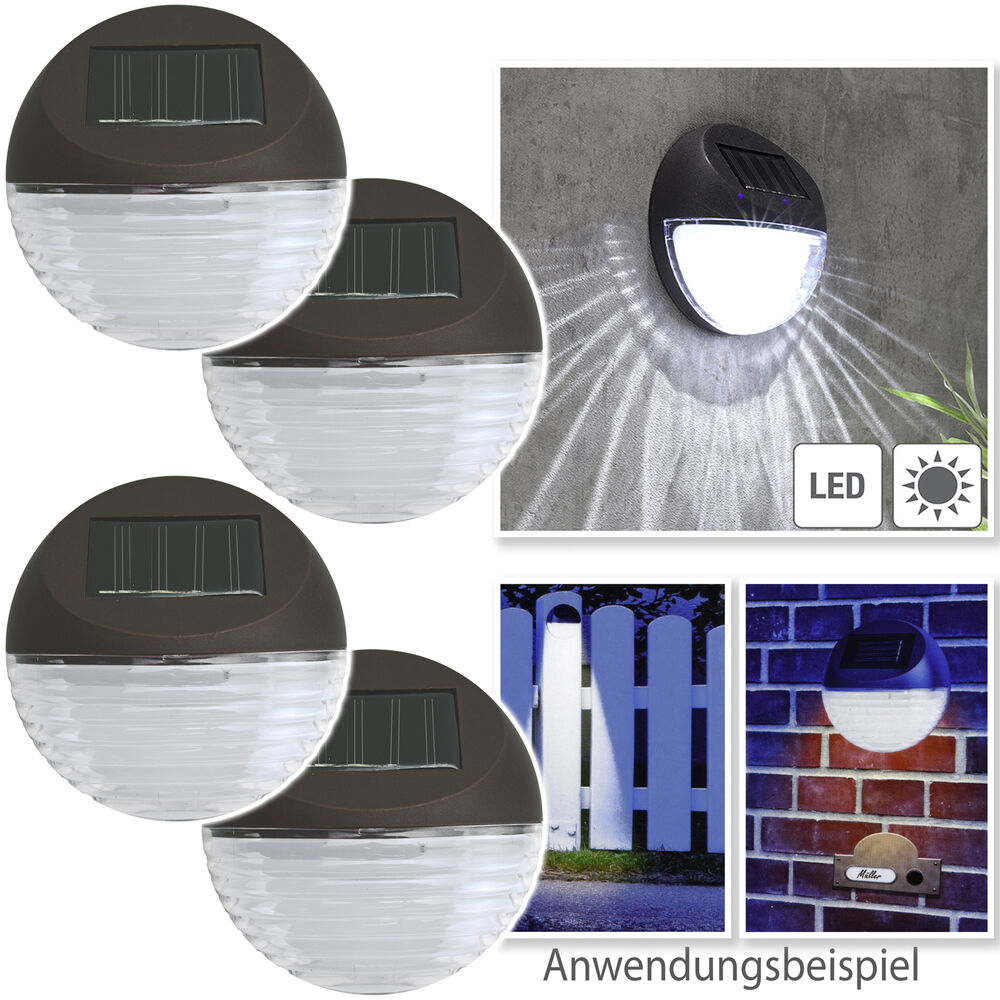 4x solar led lampe set solarleuchte solarlampe zaunlampen. Black Bedroom Furniture Sets. Home Design Ideas