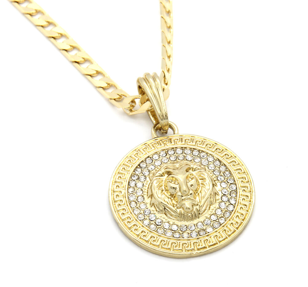 "Mens Medallion Patern Lion Gold Plated 24"" Cuban Curb ..."