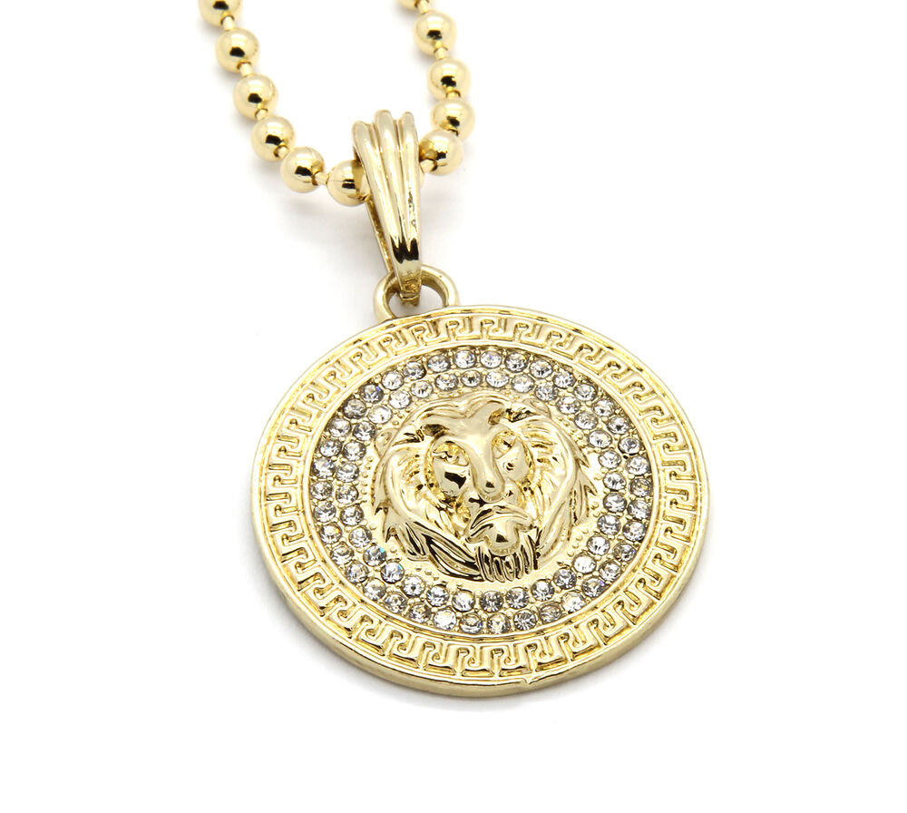 "Mens Medallion Patern Lion Gold Plated 27"" Ball Chain ..."