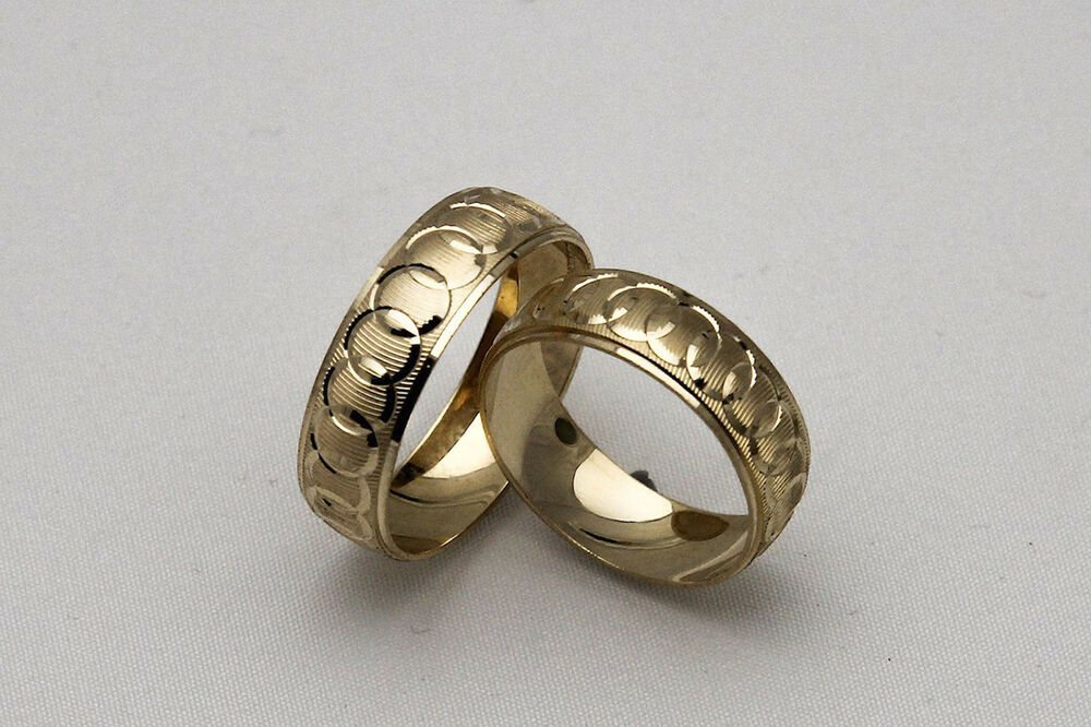 10K SOLID YELLOW GOLD HIS AND HER WEDDING BAND RING SET SZ 4 15 FREE ENGRAVIN