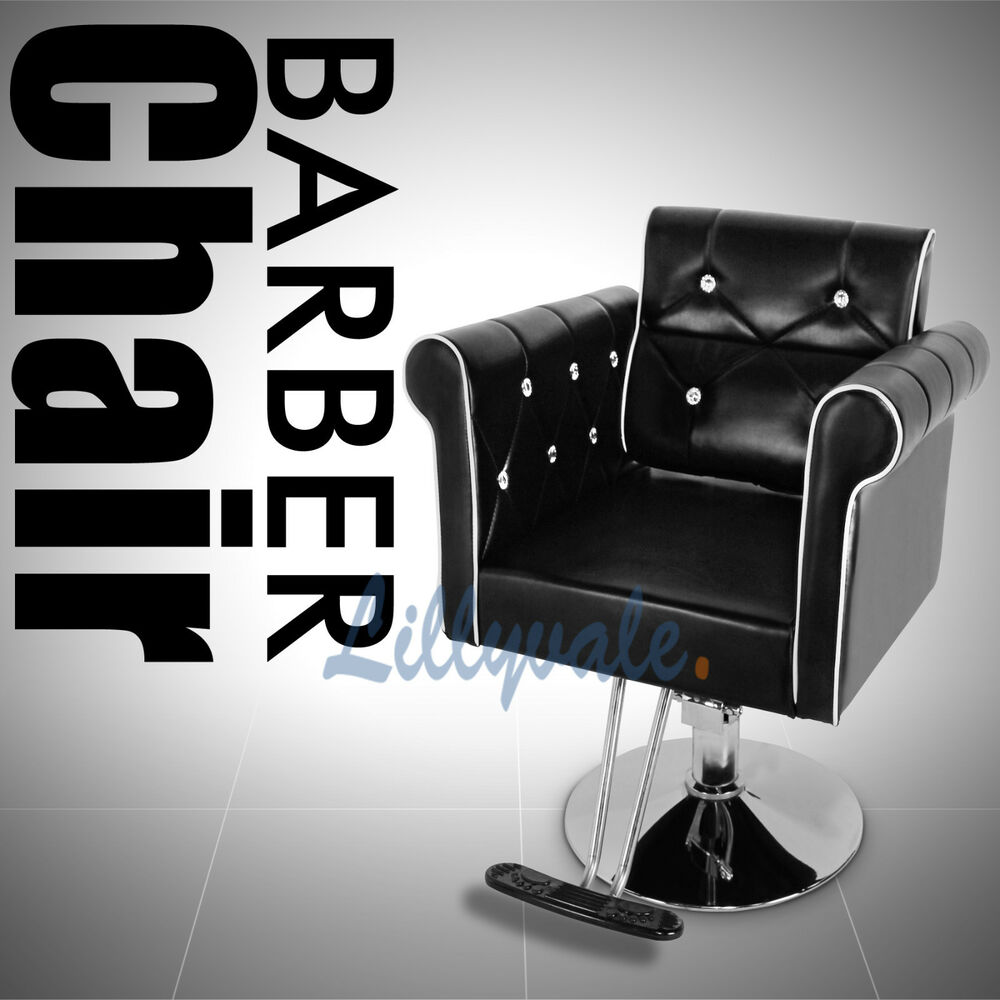 Crystal Barber Chair Salon Styling Faux Leather