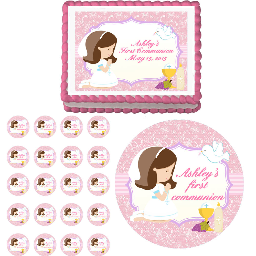 Adorable First Communion Girl Edible Cake Cupcake Toppers