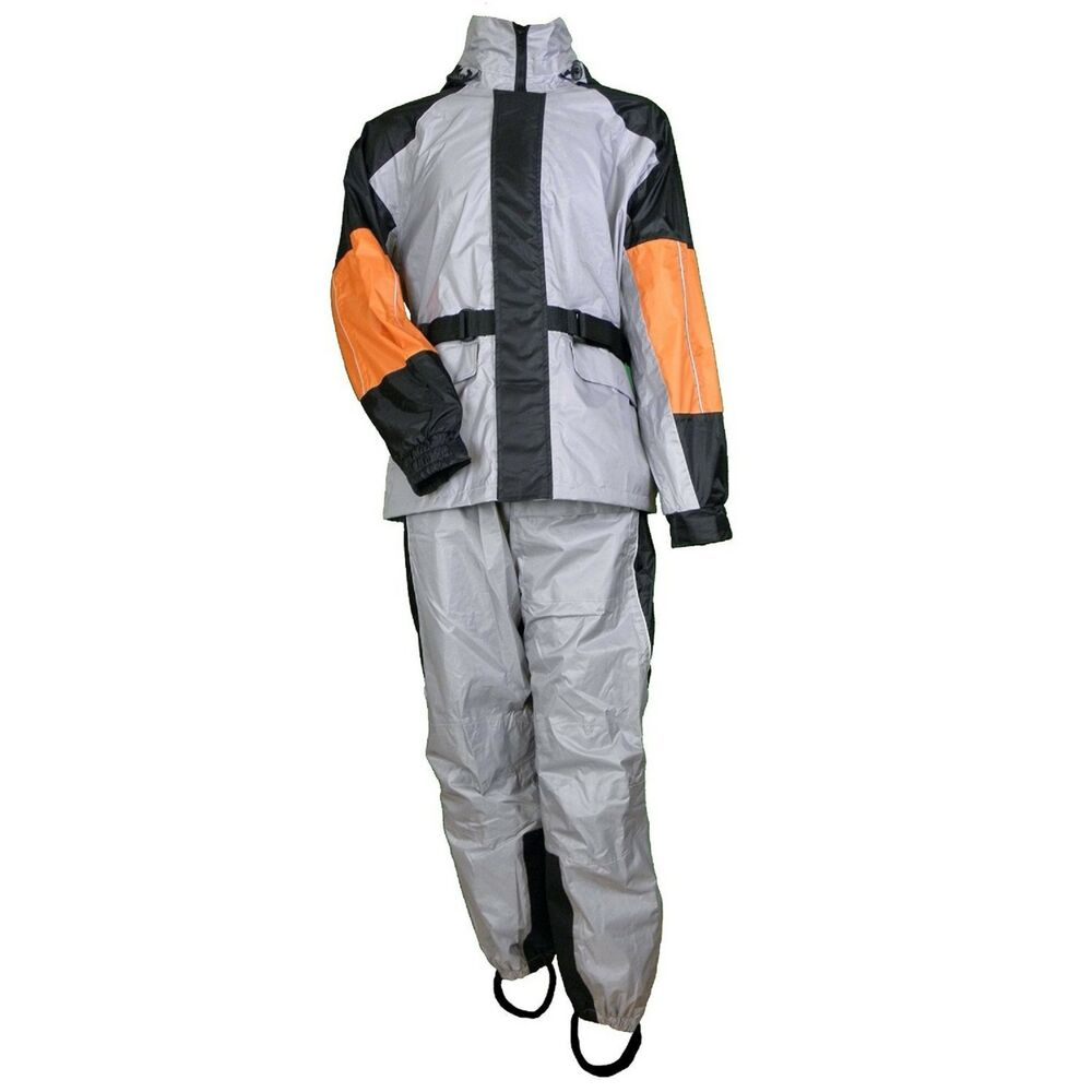 2pc motorcycle unisex rain suit gear w reflective piping for Motor cycle rain gear
