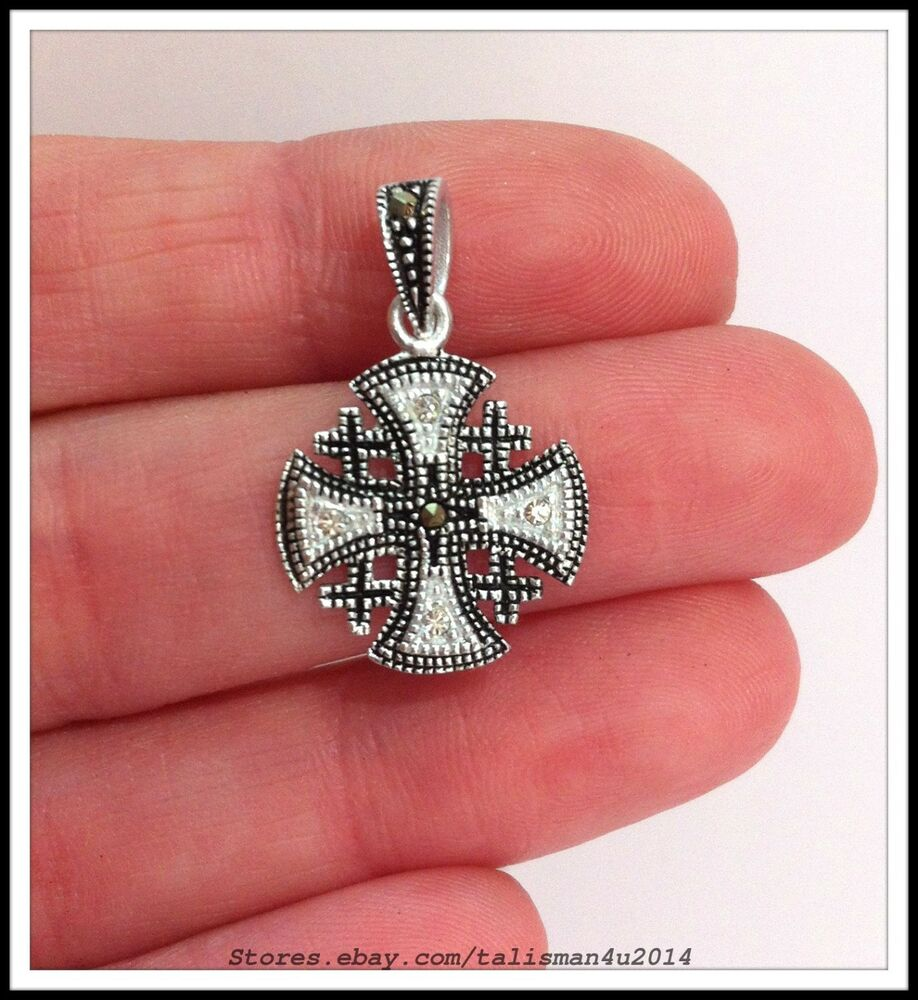 new sterling silver 925 jerusalem cross pendant necklace