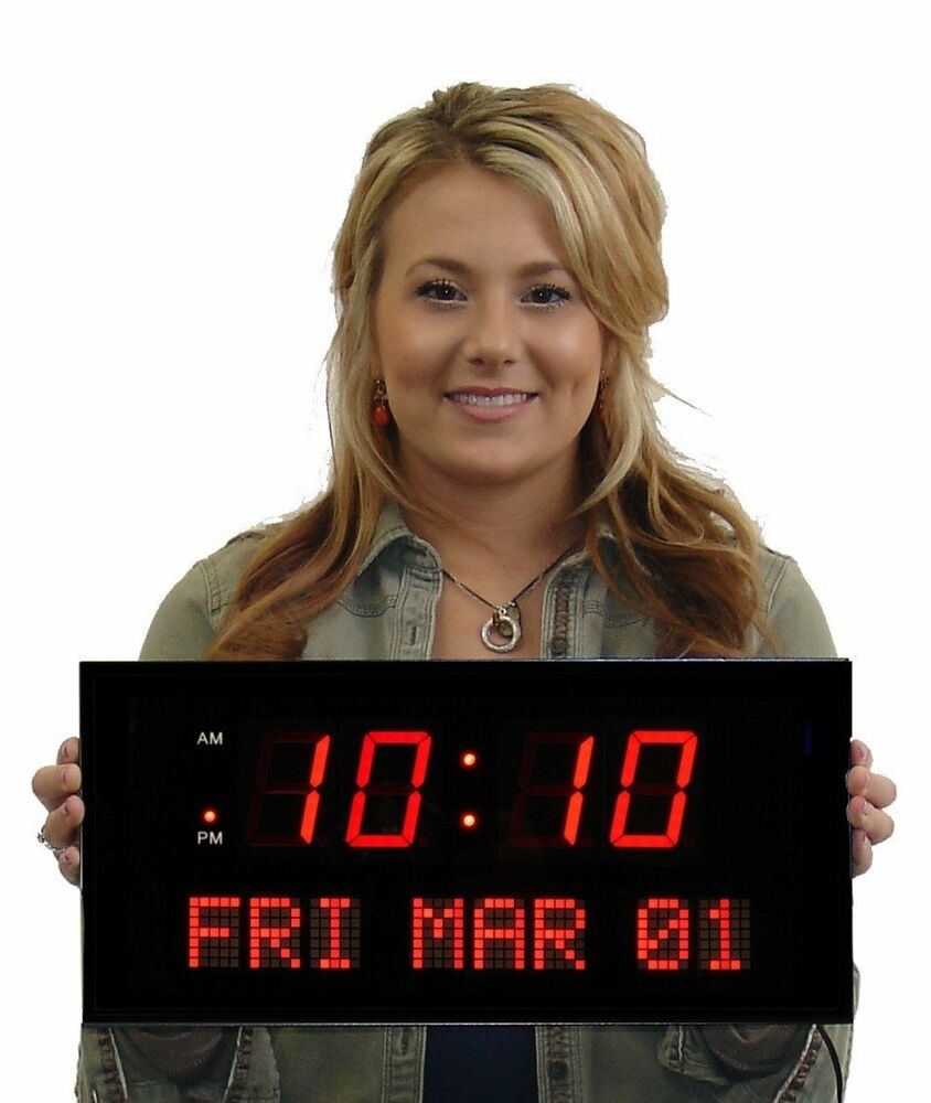 LED Digital Clock Over Sized Easy To Read Electric Wall Large Day