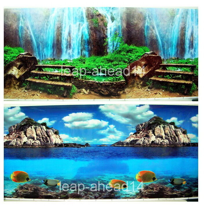 Fish poster h 20 tank aquarium background 2 sided picture for Aquarium waterfall decoration