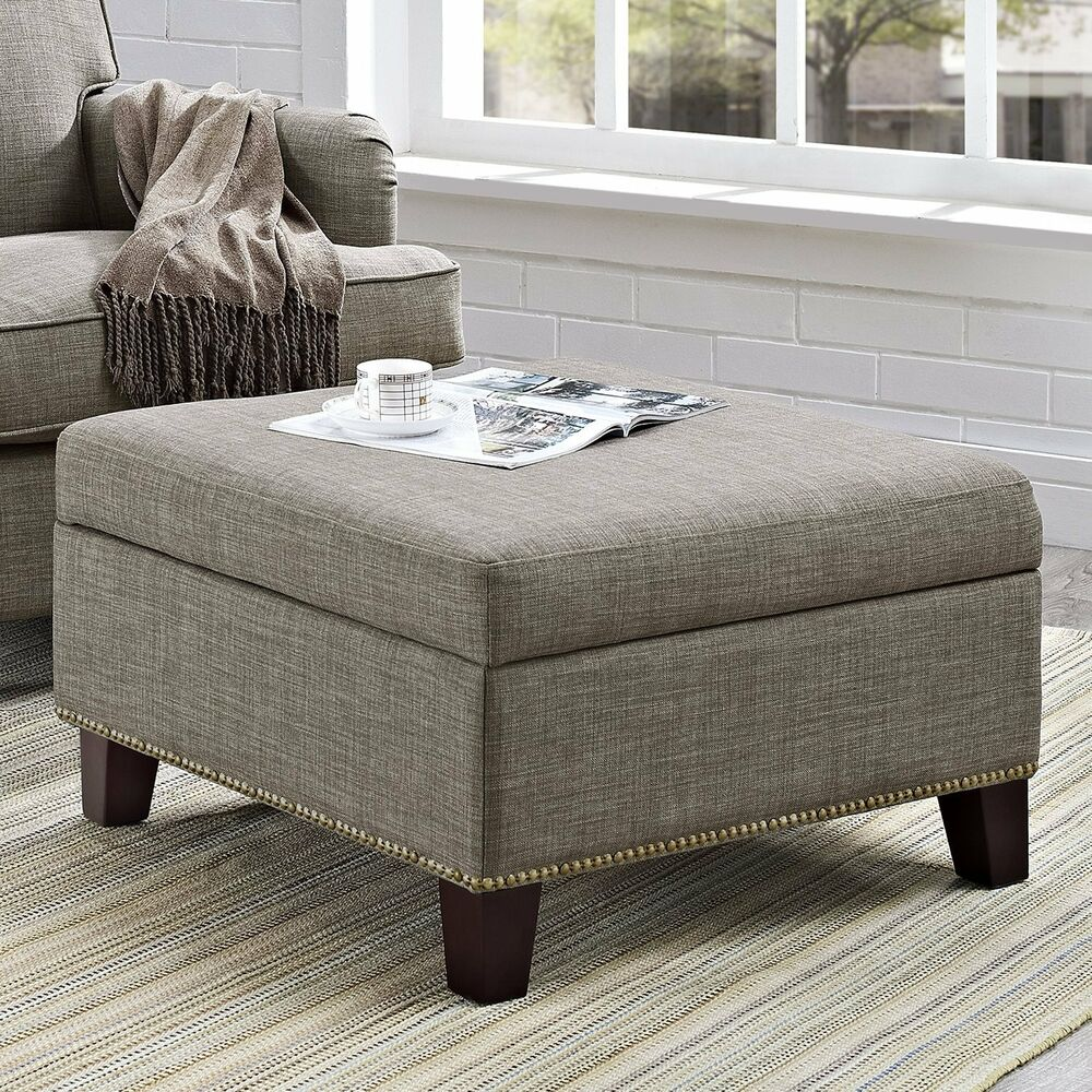Fabric Storage Ottoman Square Coffee Table Tufted Nailhead Foot Stool Gray Seat Ebay