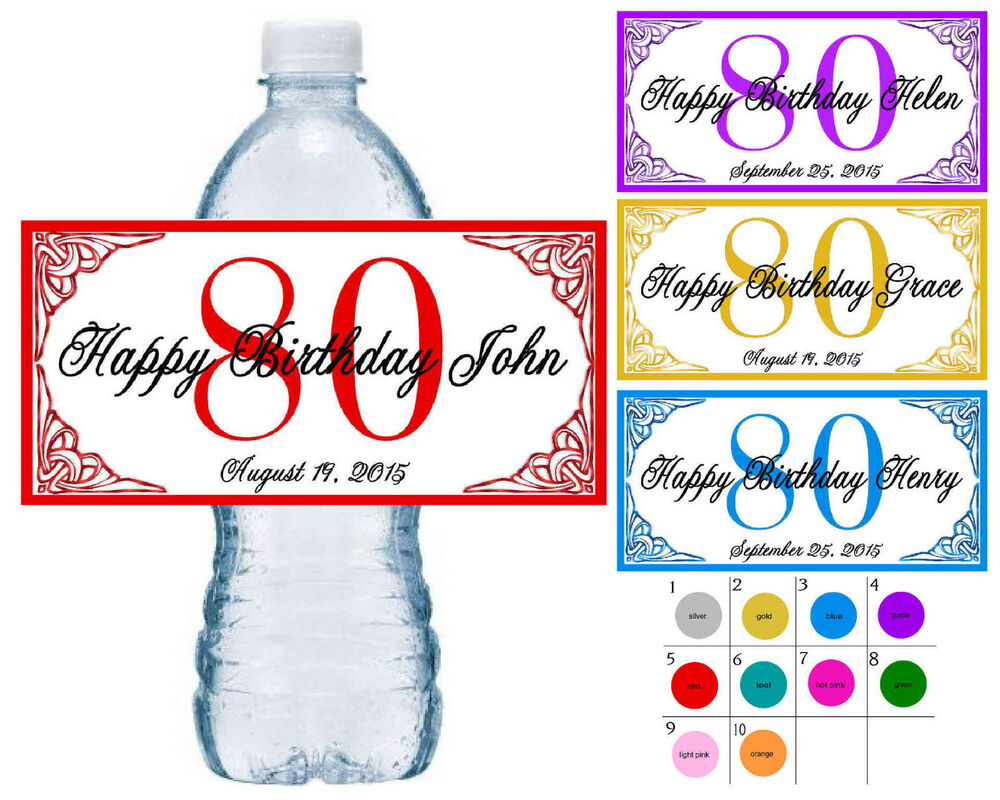 20 80th birthday party water bottle labels waterproof With 80th birthday water bottle labels