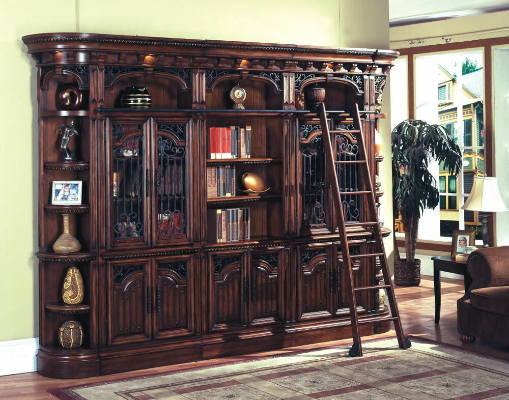 Barcelona Executive Library Wall Glass Doors & Bookcase w ...