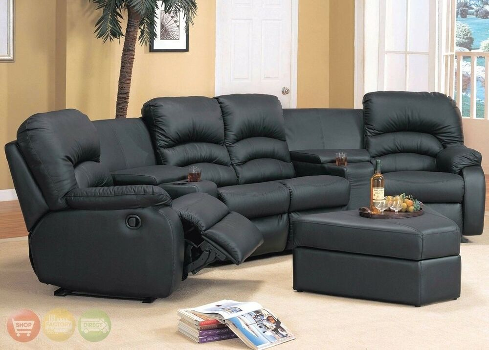 ventura reclining black or brown leather sectional ottoman home theater seats ebay. Black Bedroom Furniture Sets. Home Design Ideas