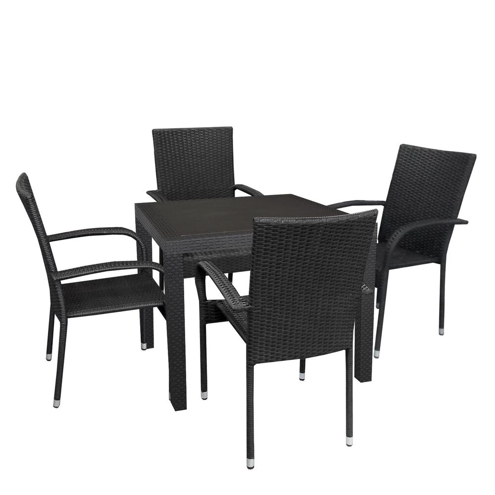 sitzgruppe sitzgarnitur gartentisch 79x79cm polyrattan. Black Bedroom Furniture Sets. Home Design Ideas