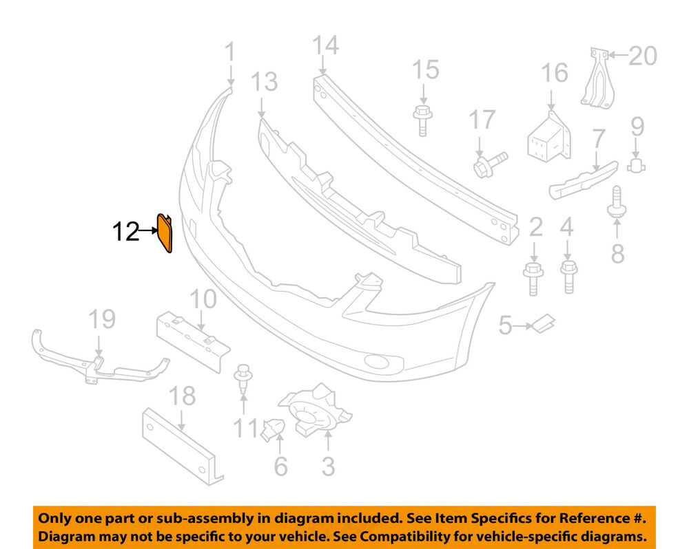 Nissan Oem 07 10 Altima Front Bumper Access Cover Panel