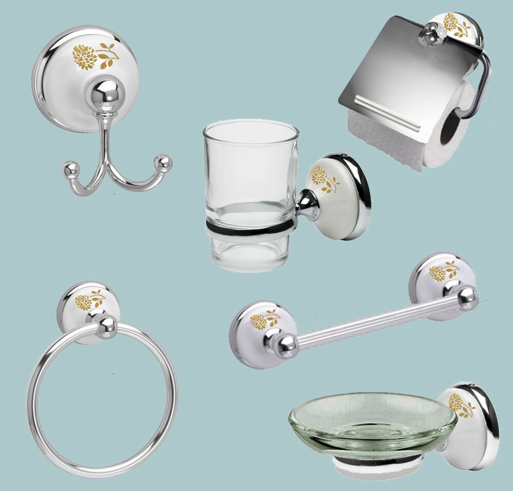 Polished chrome bathroom set with white porcelain inserts for White and gold bathroom accessories