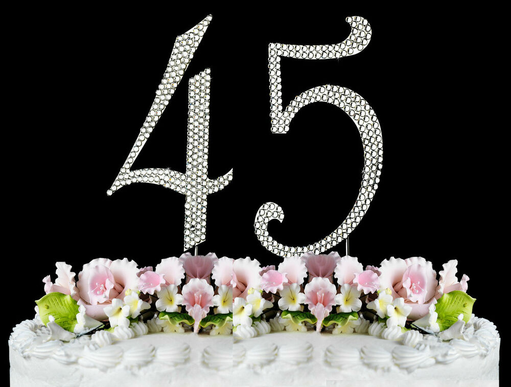 New Large Rhinestone Number 45 Cake Topper 45th Birthday