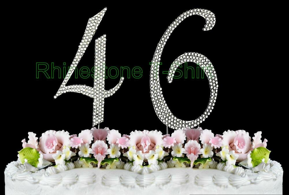 46th Wedding Anniversary Gift: Large Rhinestone NUMBER (46) Cake Topper 46th Birthday