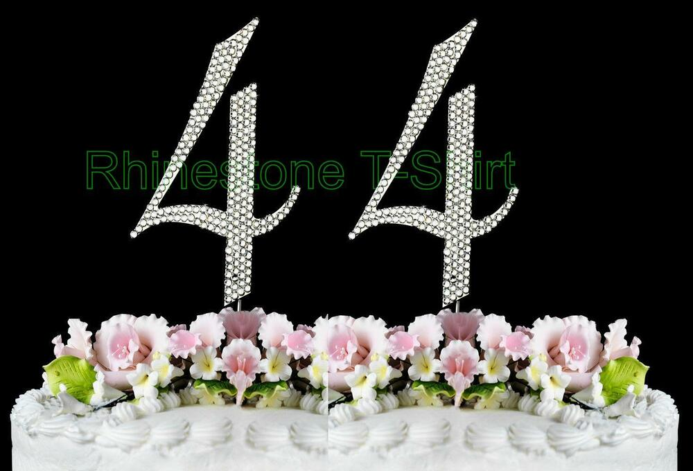 Large Rhinestone NUMBER 44 Cake Topper 44th Birthday Wedding Party Anniversary