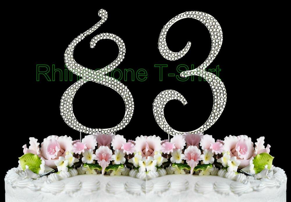 NEW Large Rhinestone NUMBER 83 Cake Topper 83th Birthday Party Anniversary