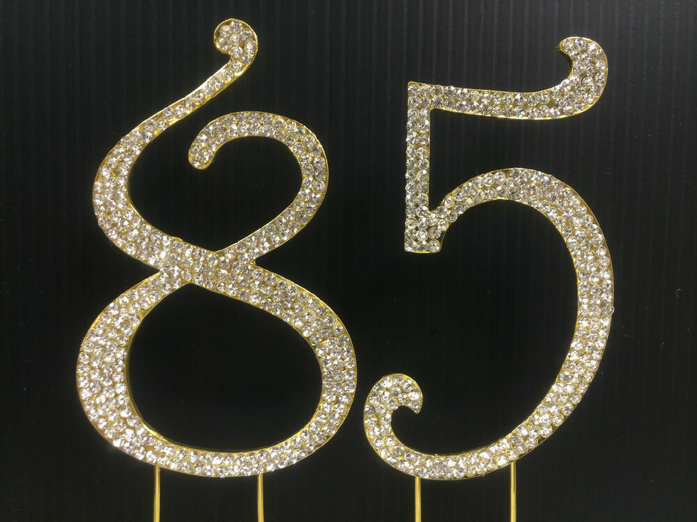 Details About Gold Rhinestone NUMBER 85 Cake Topper 85th Birthday Party Anniversary