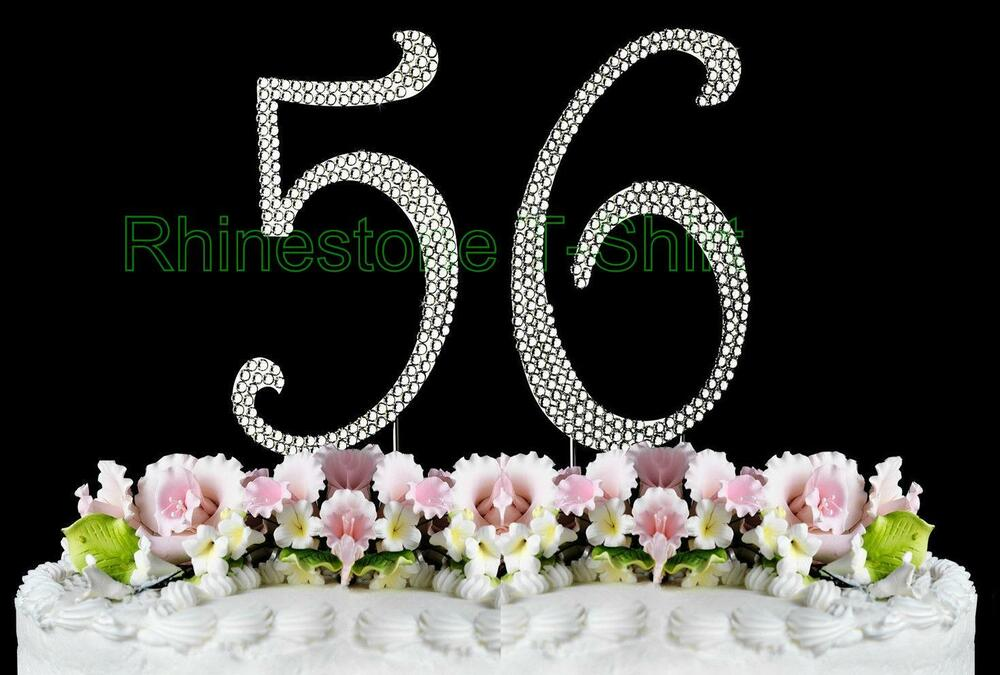 Large Rhinestone Number 56 Cake Topper 56th Birthday