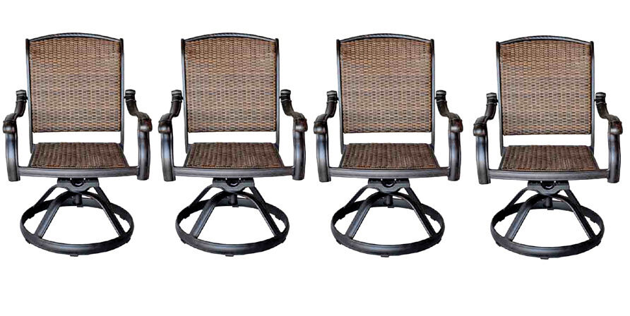Patio Outdoor Wicker Furniture Swivel Rocker Dining Chair