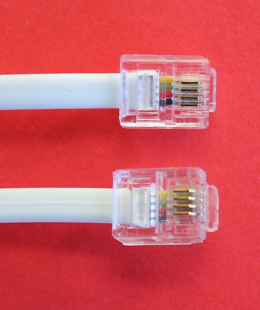 RJ11 to RJ11 quot 6M quot ADSL 4 Wire Broadband Cable White for