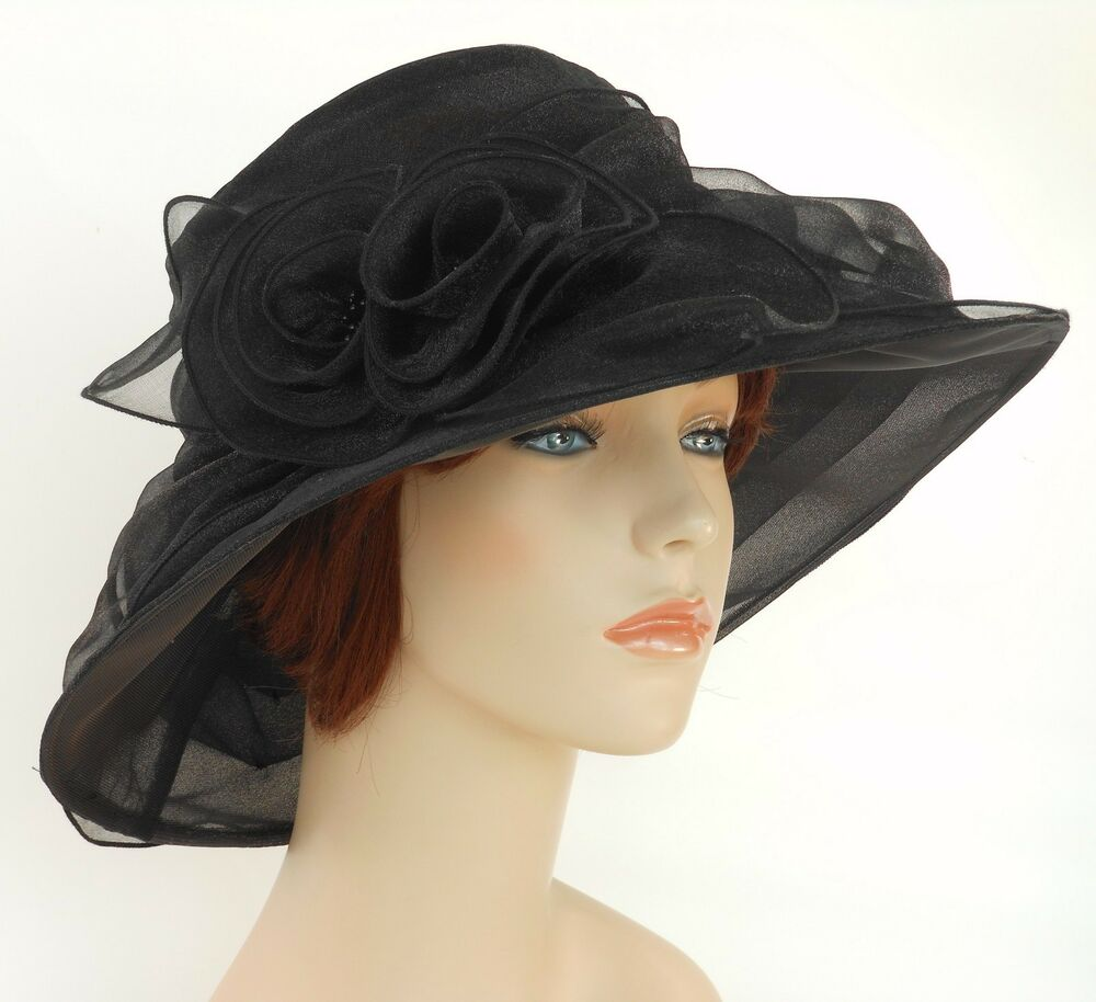 New church kentucky derby wedding party organza dress hat for Dress hats for weddings