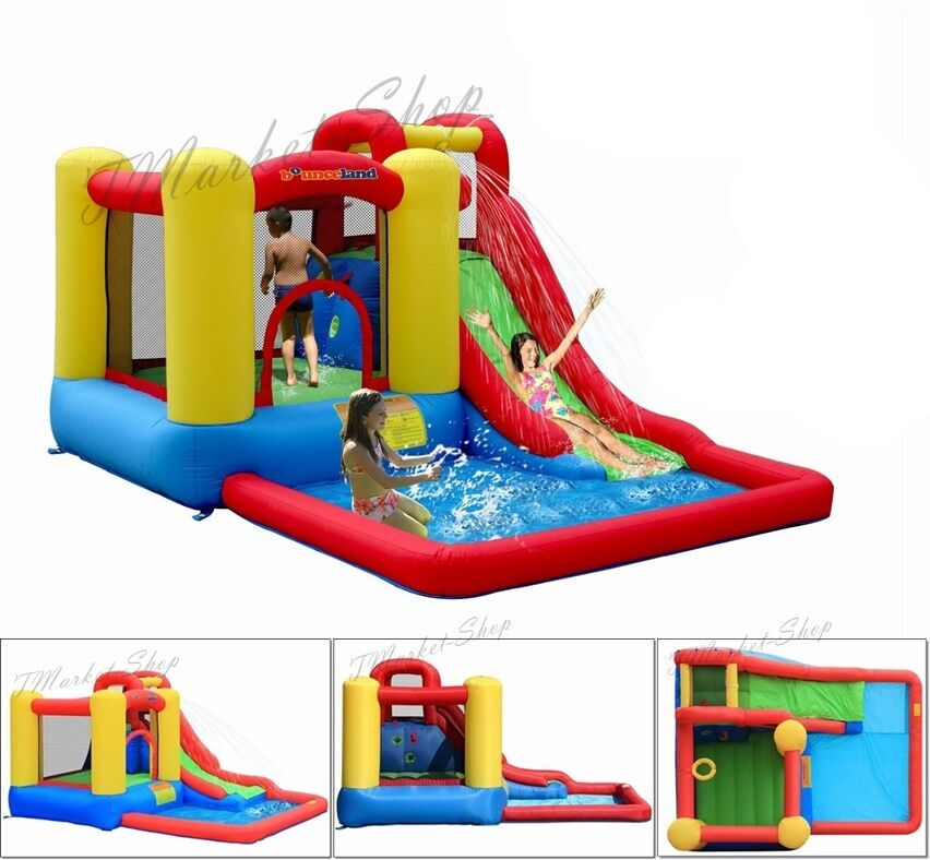 Inflatable Slide Blower: Bounce House Slide Inflatable Water Blower Combo Wet Dry