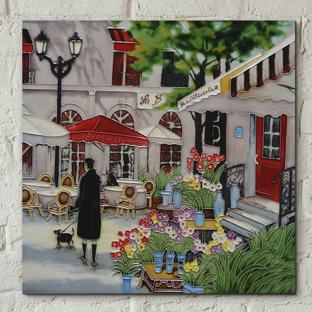 Floral Paris Scene Ceramic Picture Tile Brent Heighton