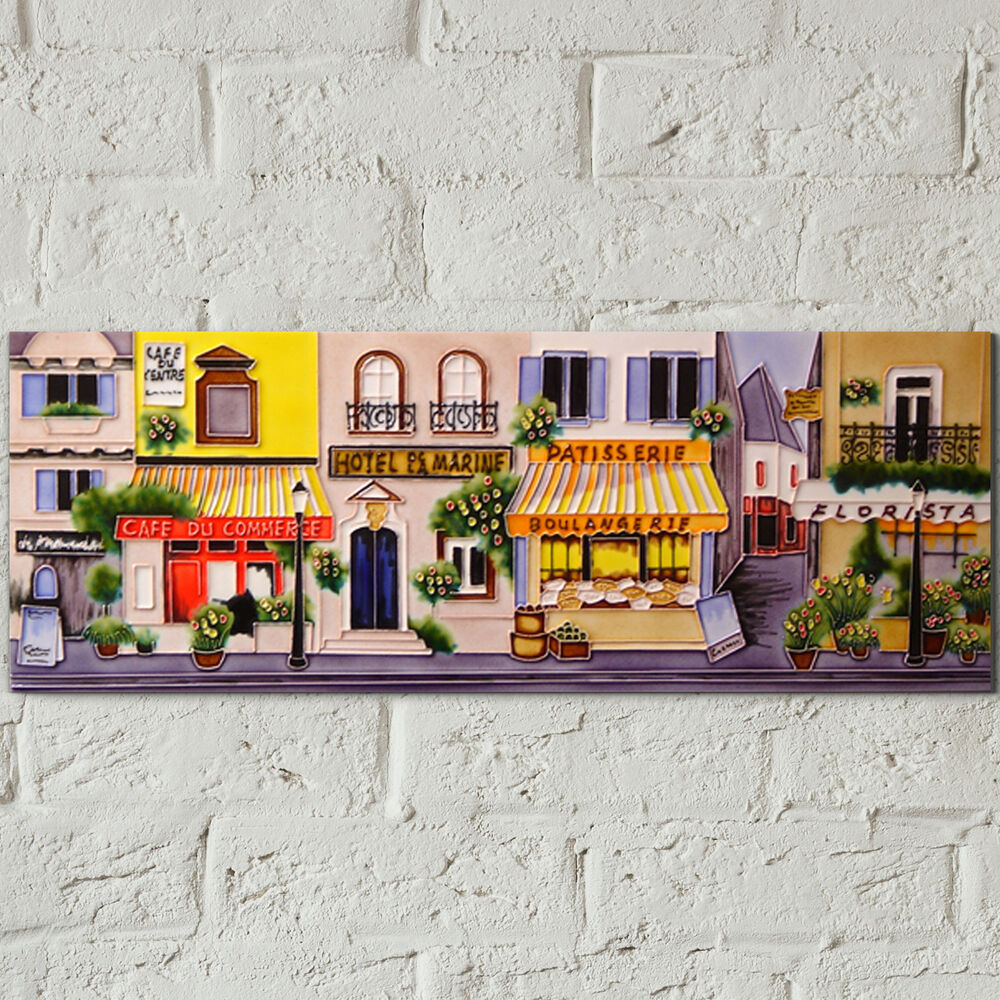 French Street Ceramic Picture Art Tile Kitchen Flowers