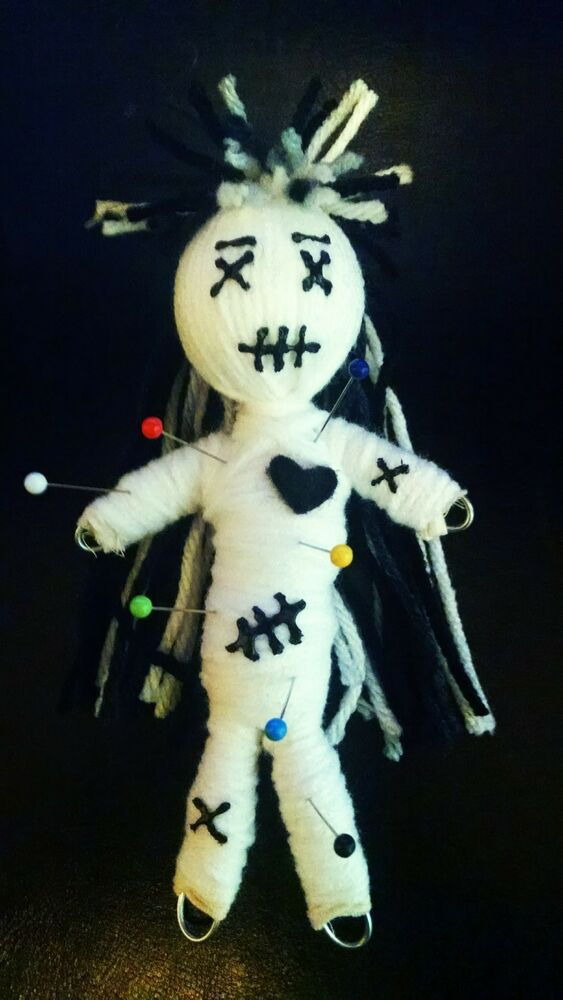 Authentic Voodoo doll black heart real 7 pins guide karma ...