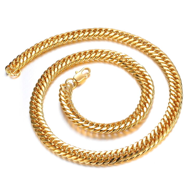 8mm top quality mens thick copper 18k gold plated cuban