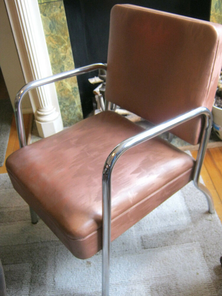 Vintage mid century modern vinyl chrome deco arm lounge chair by royalmetal ebay - Deco lounge oud en modern ...
