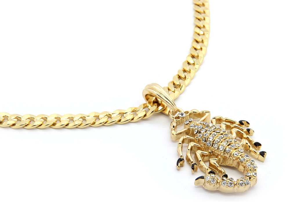 Mens 14k Gold Plated Scorpion King Cz M1 Pendant Hip Hop