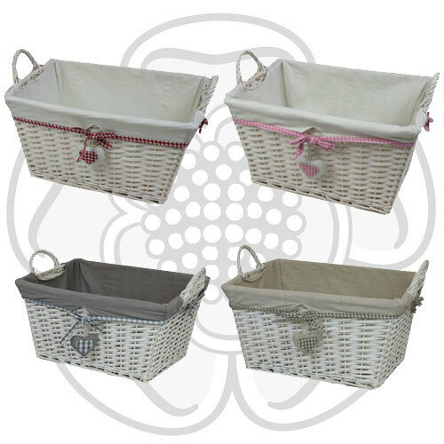 Jvl hearts white willow wicker rectangular linen washing White wicker washing basket