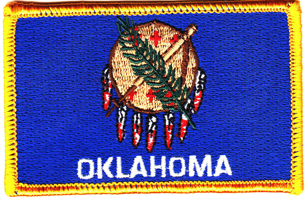 Oklahoma state flag iron on embroidered patch of