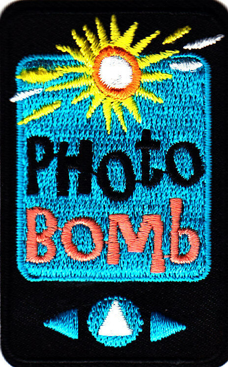 Quot photo bomb iron on embroidered patch words jokes fun
