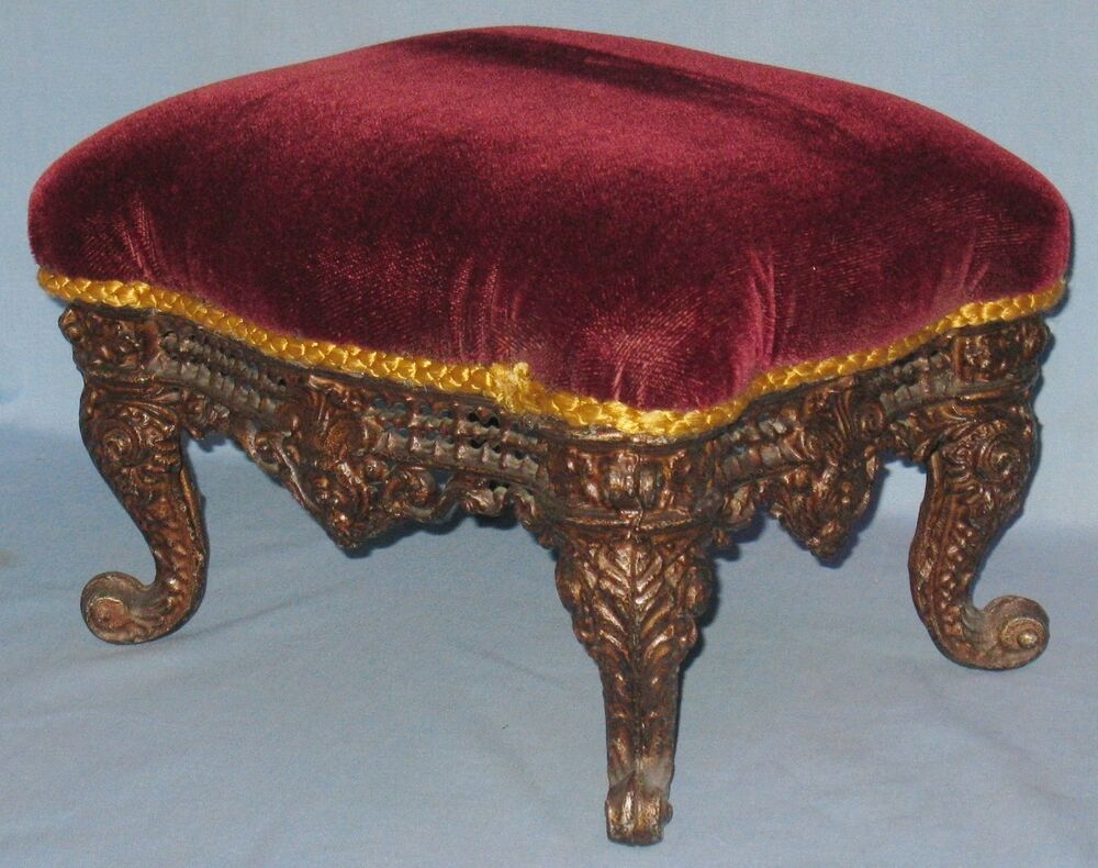 Antique decorative cast iron foot stool rococo style mohair covered top ebay - Decorative stools and benches ...