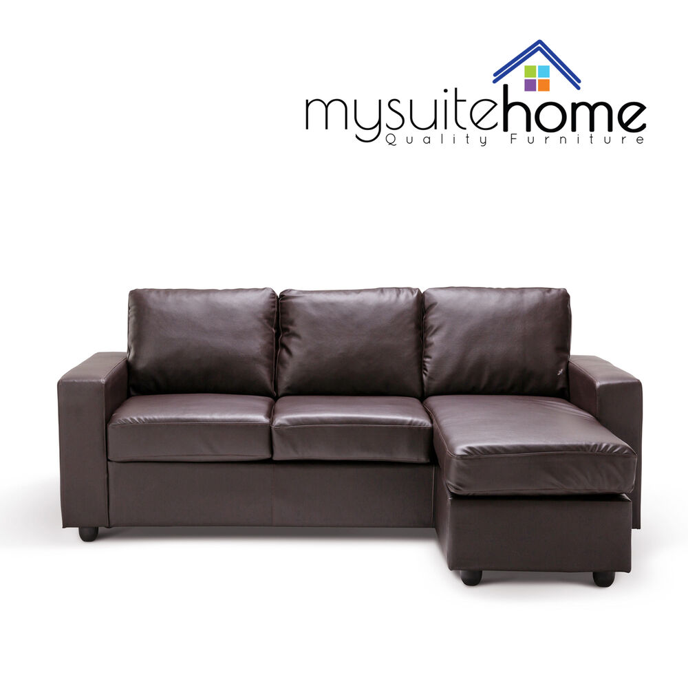 Brown Leather Sofa Ebay: Olivia New 3 Seater L Shape Lounge Black / Brown Modular
