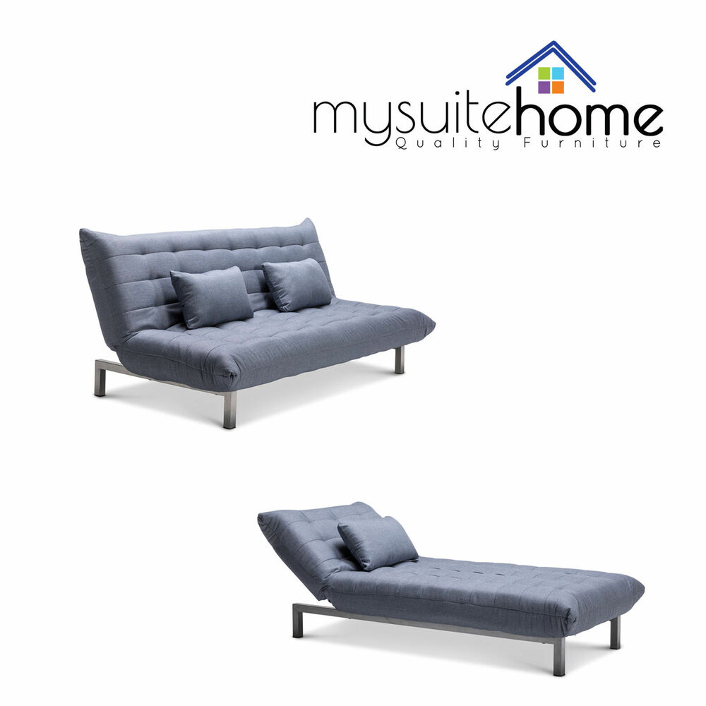 York Grey Light Blue Fabric Futon Click Clack 3 Seater Modular Sofa Or Chaise Ebay