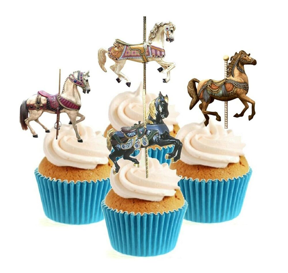 Novelty Carousel Horses Mix 12 Edible Stand Up wafer paper ...